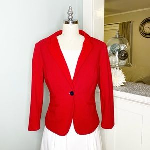 Limited Red Polka Dot Fitted Stretch Blazer Jacket
